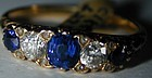 18K gold ring, five stone ring Sapphires Diamonds, 1880