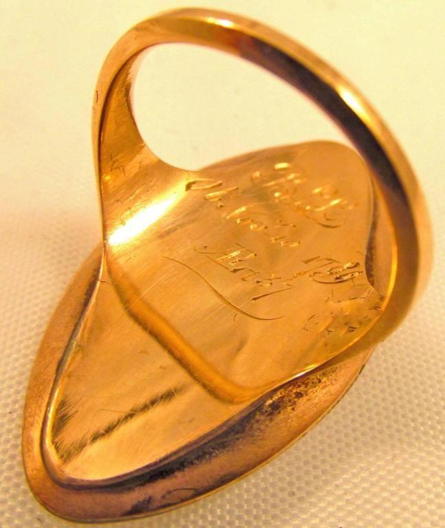 Ring, Georgian 18K Lozenge shaped memorial ring w/ plaited hair