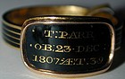 "Ring, enamel & 18K gold memorial ring for ""T. Parr"" 1807"