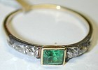 18K gold Georgian ring, emerald flanked by 4 diamonds