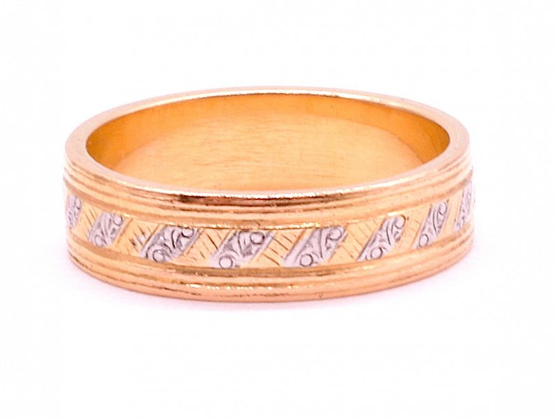 Ring, 18K gold and platinum band, geometric design