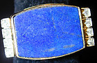 14K YG Ring with lapis, diamonds circa 1950 size 6 1/2
