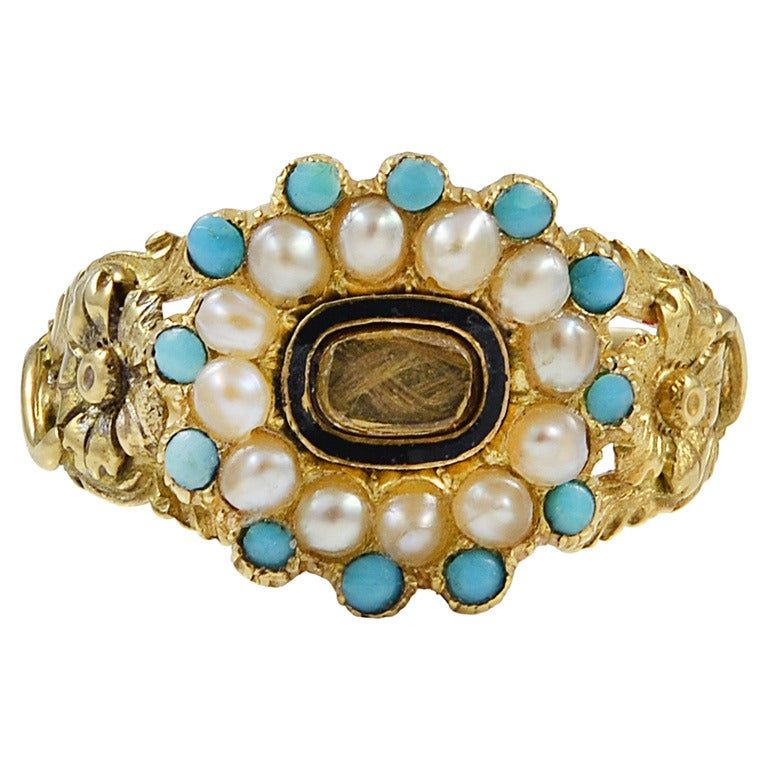 Georgian Turquoise and Pearl 18K Gold Memorial Ring