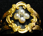 Ring memorial 18K Black enamel with pearls & di hm 1831
