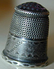 THIMBLE, STERLING, glass top, circa 1830