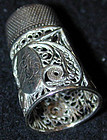 THIMBLE, STERLING, filigree, circa 1810