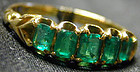 Ring, Victorian 5 stone emerald in 18K gold