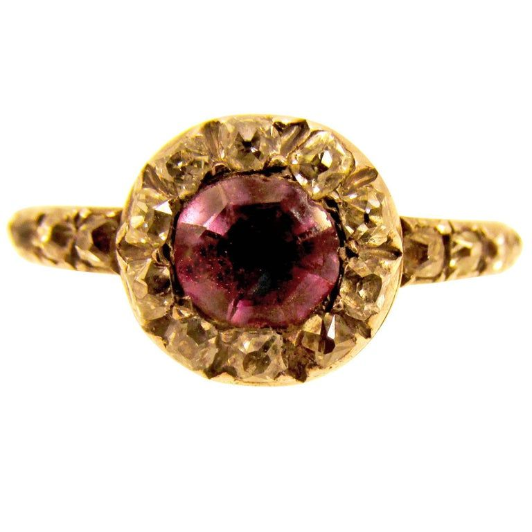 RING: Georgian 18K gold amethyst & diamonds