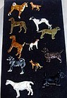 Brooch, enamel dogs and a goat