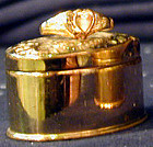 Box for a ring, brass with ring on top