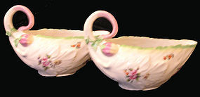 Derby Porcelain Pair of Sauceboats in Cos Form