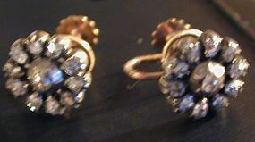 Earrings of rose diamonds, cluster form set in silver