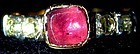 15K gold Georgian ring almondine garnet, rose diamonds