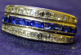 "Ring: ""Day Night"" platinum, ruby, sapphire and diamond"