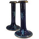 Antique Pair of Jackfield Ware Candlesticks