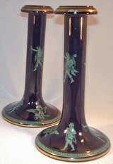 Antique Pair of Jackfield Ware Candlesticks