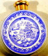 Antique Scent Bottle in Blue Willow Pattern