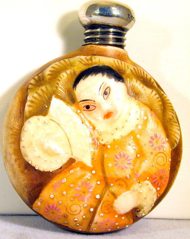 Antique Royal Worcester Satsuma Style Scent Bottle