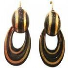 Antique Pique and Gold Hoop Earrings c 1870