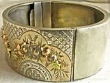 Antique Victorian Silver Two Color Gold Floral Motif Bangle Bracelet