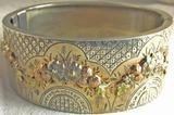 Antique Victorian Silver Two Color Gold Floral Motif Bangle Bracelet