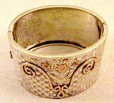Antique Victorian Silver Gold Bangle Bracelet, c1880