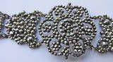 Antique Victorian Cut Steel Floral Motif Bracelet