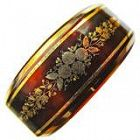 Antique Victorian Pique, Gold & Silver Hinged Bangle Bracelet