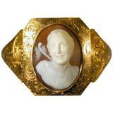 Antique Early Victorian Shell Cameo Gold Bracelet, c1840