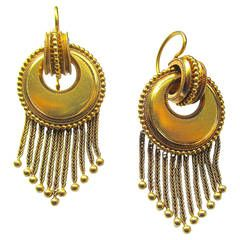 Antique Victorian 18K Gold Fringe Dangle Earrings c1860