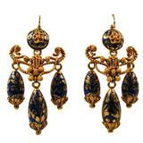 Antique Enamel Gold Girandole Earrings, circa 1850