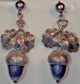 Antique Victorian Silver Acorn Earrings, circa 1860-1869