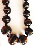 Antique Victorian Banded Agate Bead Necklace