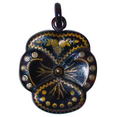 Antique Pique Pansy Pendant