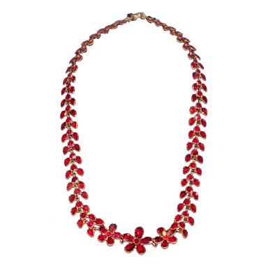 Dazzling Antique Georgian Almondine Garnet Pansy Necklace c 1800