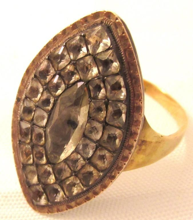 Antique Eighteenth Century Portuguese Gold Paste Marquise Shaped Ring