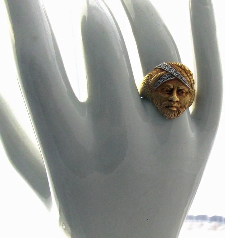 Antique French Diamond Gold Moroccan Moors Head Ring