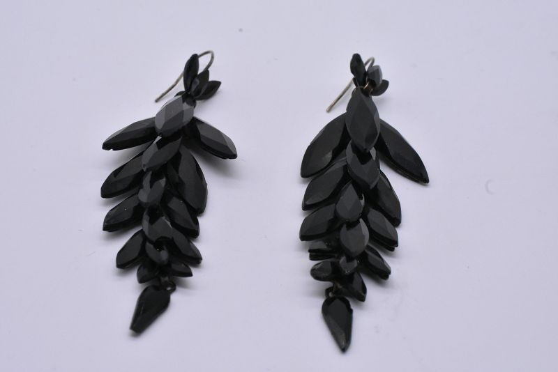 French Jet Leaf Form Earrings