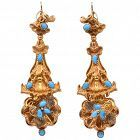 Antique Turquoise and Gold Earrings