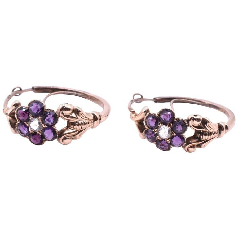 Amethyst Paste Poissard Hoop Earrings