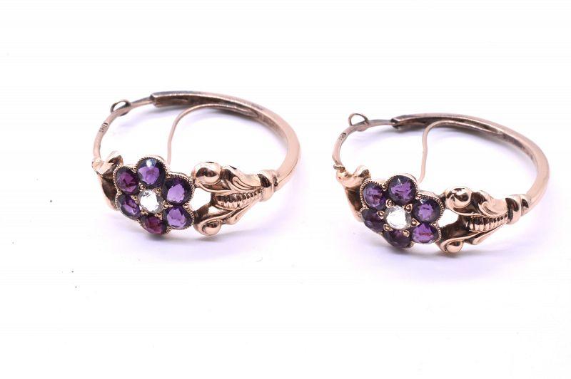 Amethyst Paste Poissard Hoop Earrings