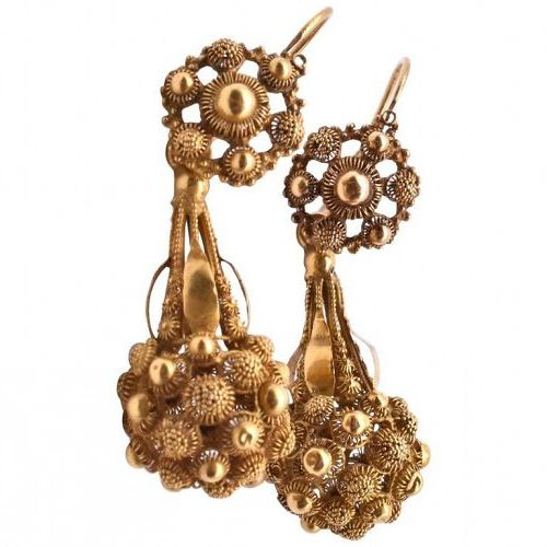 Antique Floral Gold Cannetille Earrings