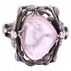 C1920 Sterling rose quartz Ring possibly by Sibyl Dunlop