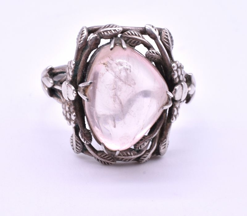 ARTS AND CRAFTS Sterling rose quartz Ring, possibly by SYBIL Dunlop