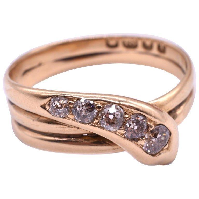 Ring, 18K Five Diamond Snake HM London 1894