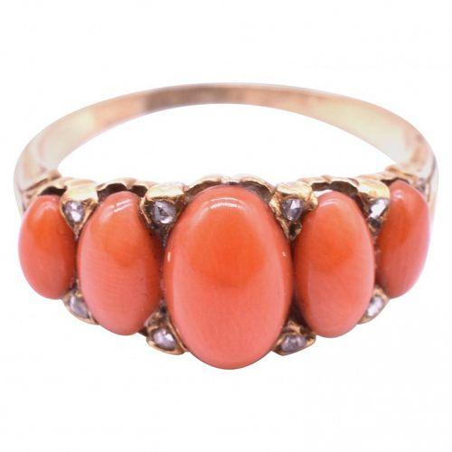 C1850 18K DIAMOND & 5 STONE coral ring
