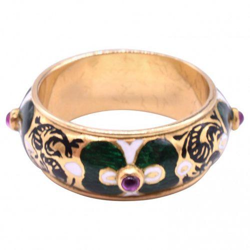 Renaissance Revival 18K Colorful Enamel Gentlemen's Ring with Rubies