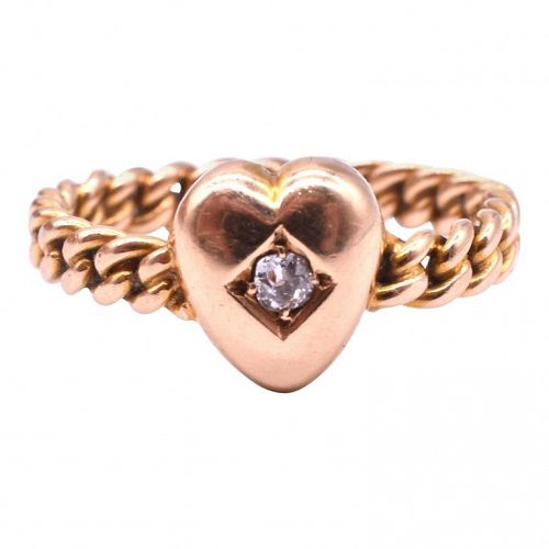 C1900 15k Heart diamond RING WITH TWISTED ROPE BAND