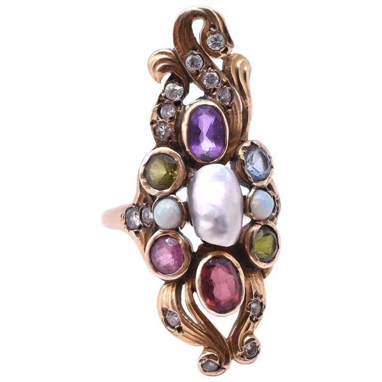 C1915 14K American Art Nouveau ring w gemstones and pearls