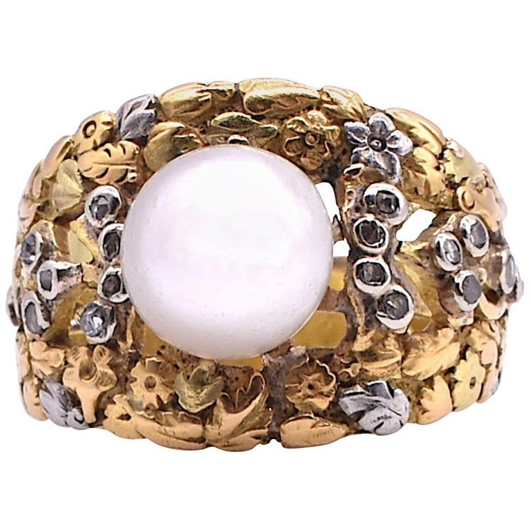 C1920 18K 2 Color GOLD AND PLATINUM RING W PEARL AND DIAMONDS